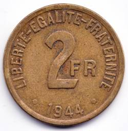 Imaginea #2 a 2 Francs 1944 Allied Occupation