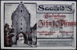 Imaginea #1 a 10 Pfennig 1921 - Saalfeld