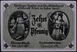 Imaginea #1 a 10 Pfennig 1921 - Oberweidbach