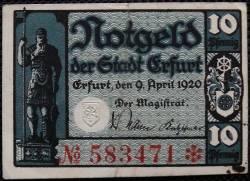 Image #1 of 10 Pfennig 1920 - Erfurt