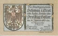 30 Heller 1921 (3. Auflage) - Schwaz