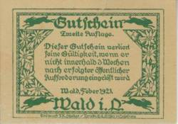 Imaginea #2 a 40 Heller 1921 - Wald im Pinzgau