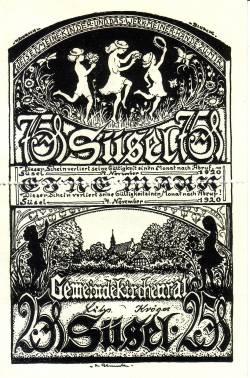 Image #1 of 1 Mark (Doppelscheine 25 & 75 Pfennig) 1920 - Süsel