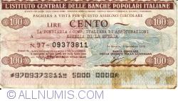 Image #1 of 100 Lire 1976 (6. XII.) - La Spezia (Banca Populare della Spezia e della Lunigiana)