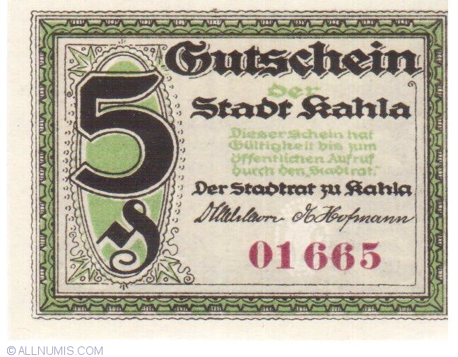 Banknote 1921 Germany KAHLA 50 Phennig Notgeld
