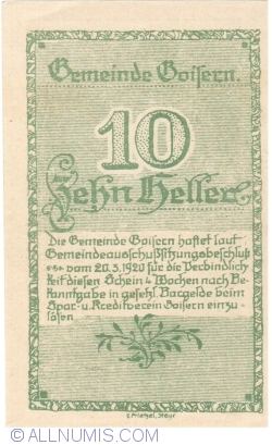 10 Heller 1920 - Goisern