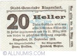 Imaginea #1 a 20 Heller 1919 - Klagenfurt