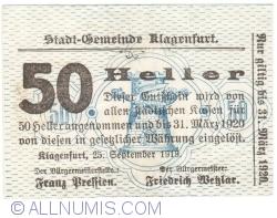 Imaginea #1 a 50 Heller 1919 - Klagenfurt