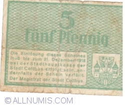 Image #2 of 5 Pfennig 1918 - Cottbus
