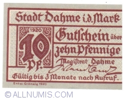 Image #1 of 10 Pfennig 1920 - Dahme/Mark