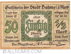 Image #1 of 50 Pfennig 1920 - Dahme/Mark
