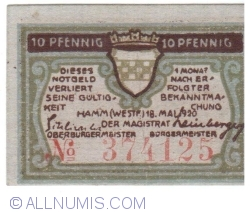 Image #2 of 10 Pfennig 1920 - Hamm