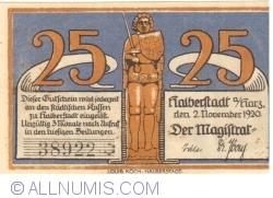 Imaginea #2 a 25 Pfennig 1920 - Halberstadt