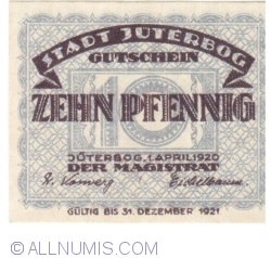 10 Pfennig 1920 - Jüterbog