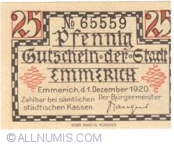 Imaginea #1 a 25 Pfennig 1920 - Emmerich