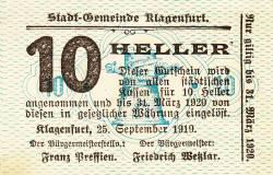 Imaginea #1 a 10 Heller 1919 - Klagenfurt