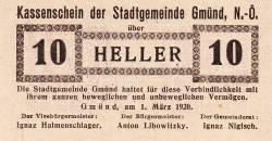 Imaginea #1 a 10 Heller 1920 - Gmünd (Niederösterreich - Austria Inferioară)