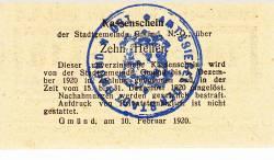 Imaginea #2 a 10 Heller 1920 - Gmünd (Niederösterreich - Austria Inferioară)