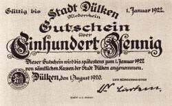 Image #1 of 100 Pfennig 1920  - Dülken