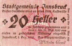 20 Heller 1918 - Innsbruck
