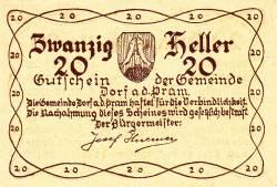 Imaginea #1 a 20 Heller 1920 - Dorf an der Pram