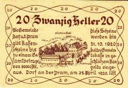 Imaginea #2 a 20 Heller 1920 - Dorf an der Pram