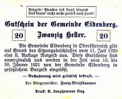 Imaginea #2 a 20 Heller 1920 - Eidenberg