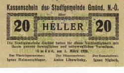 Imaginea #1 a 20 Heller 1920 - Gmünd (Niederösterreich - Austria Inferioară)