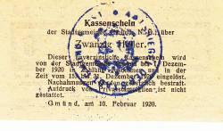 Imaginea #2 a 20 Heller 1920 - Gmünd (Niederösterreich - Austria Inferioară)