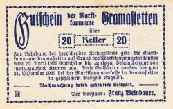 Imaginea #2 a 20 Heller 1920 - Gramastetten
