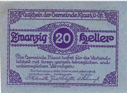 Imaginea #2 a 20 Heller 1920 - Klaus (Oberösterreich - Austria Superioară)