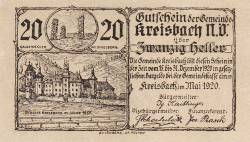 Imaginea #1 a 20 Heller 1920 - Kreisbach