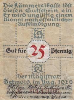 Imaginea #2 a 25 Pfennig 1920 - Detmold