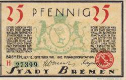 Image #1 of 25 Pfennig 1921 - Bremen