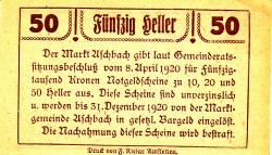 Imaginea #2 a 50 Heller 1920 - Aschbach
