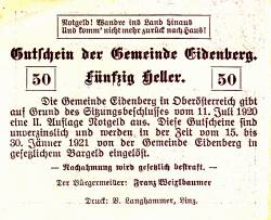 Imaginea #2 a 50 Heller 1920 - Eidenberg