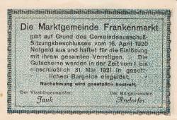 Imaginea #2 a 50 Heller 1920 - Frankenmarkt