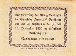 Imaginea #2 a 50 Heller ND - Gerersdorf (A II-a emisiune - 2. Auflage)