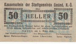 Imaginea #1 a 50 Heller 1920 - Gmünd (Niederösterreich - Austria Inferioară)