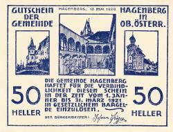 50 Heller 1920 - Hagenberg (A II-a emisune - 2. Auflage)