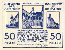 Imaginea #1 a 50 Heller 1920 - Hagenberg (A II-a emisune - 2. Auflage)