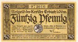 Image #1 of 50 Pfennig 1918 - Erbach im Odenwald