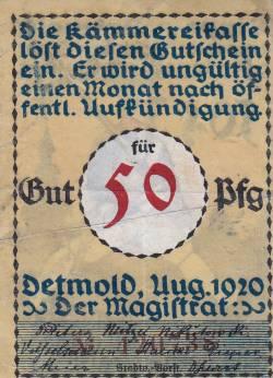 Imaginea #2 a 50 Pfennig 1920 - Detmold