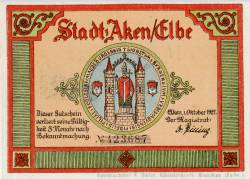 Image #2 of 50 Pfennig 1921 - Aken (Elbe)