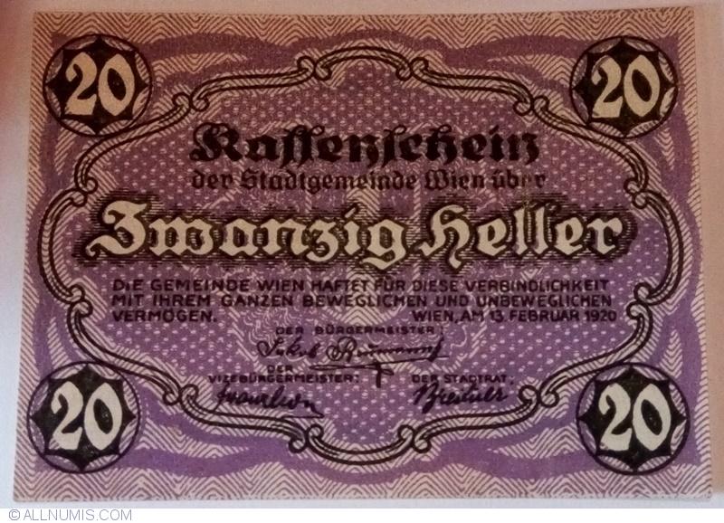 1920 Regional Issue P-R57 Vienna UNC Austria 20 Heller