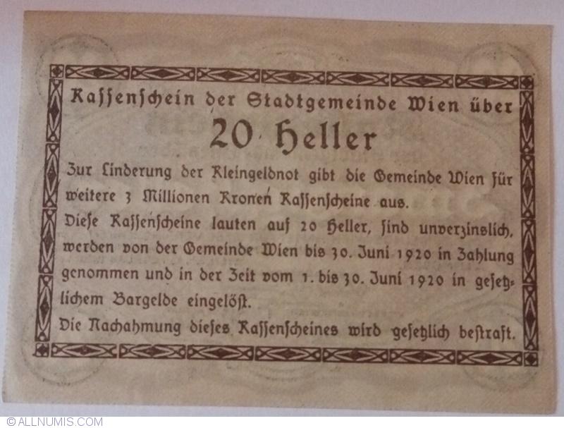 Vienna UNC Austria Regional Issue P-R57 1920 20 Heller