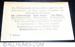 Imaginea #2 a 20 Heller 1920 - Heidenreichstein (A II-a emisiune - 2. Auflage)
