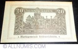 Imaginea #1 a 20 Heller 1920 - Heidenreichstein (A II-a emisiune - 2. Auflage)