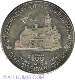 Image #1 of Charlottetown (Prince Edward Island) - 1 Dollar 1980 - 125th Anniversary of the City of Charlottetown.