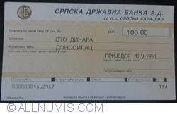 100 Dinara 1996 (12. V.) - issued in Prijedor